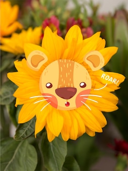 Lion doodle over a sunflower