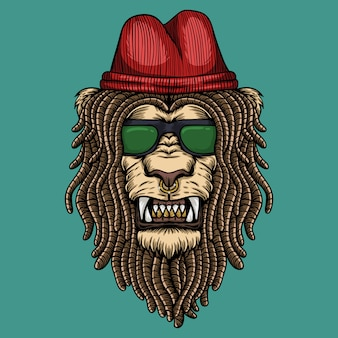 Lion dreadlocks head illustration