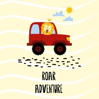Lion driving offroad car adventure vector illustration