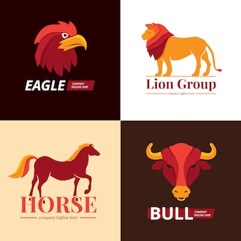Lion, eagle, horse and bull logo set