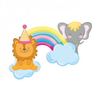 Lion and elephant with party hat and rrr rainbow