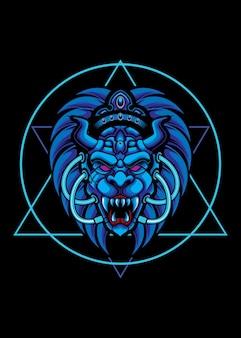 Tシャツイラストアートワークのライオンeスポーツロゴデザイン