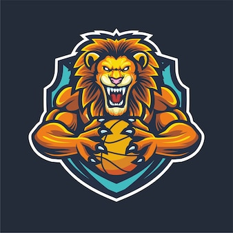 Lion esport logo mascot for basketball
