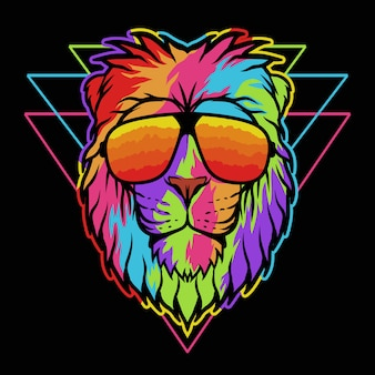Lion eyeglasses colorful illustration