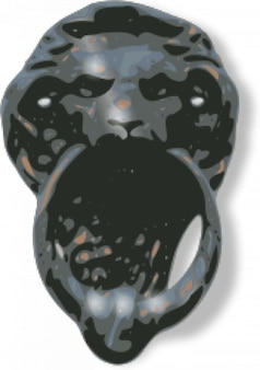 Lion-face door knocker
