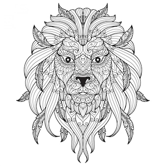 Lion face. hand drawn sketch illustration for adult coloring book