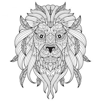 ライオンの顔。大人の塗り絵の手描きのスケッチ図
