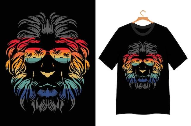 Tシャツデザインのライオンの顔のイラスト