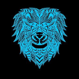 ライオンの顔ネオンカラーイラスト