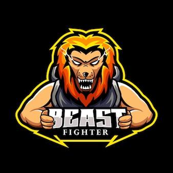 Lion fighter, mascot logo