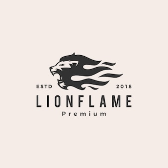 Lion fire flame logo vector illustration tattoo