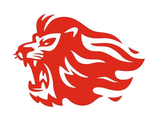 ライオンの火の炎の赤。
