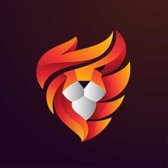 Lion fire head logo