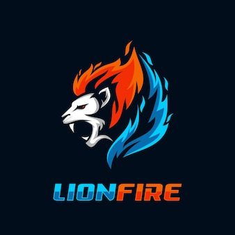 Lion fire logo vector