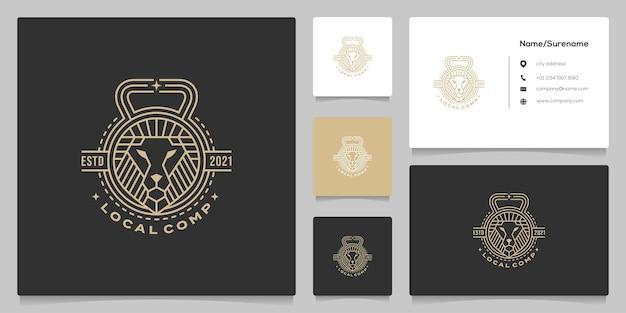Lion fitness line vintage retro logo design with business card