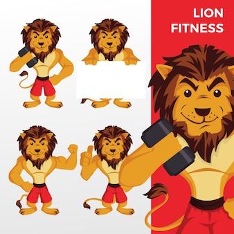 Лев фитнес талисман набор символов логотип значок иллюстрации