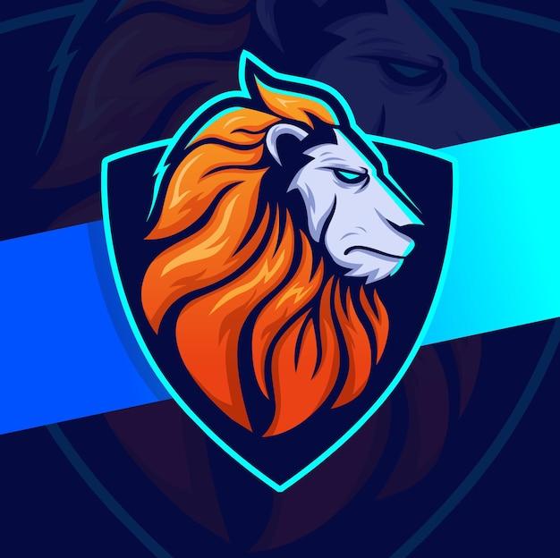 スポーツとゲームのロゴのコンセプトのためのライオンフィットネス筋肉トレーニングマスコットeスポーツロゴデザインキャラクター