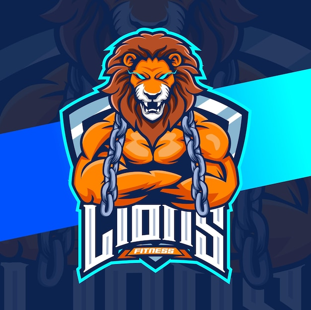 Lion fitness muscle workout mascot esport logo design character for sport and game logo concept