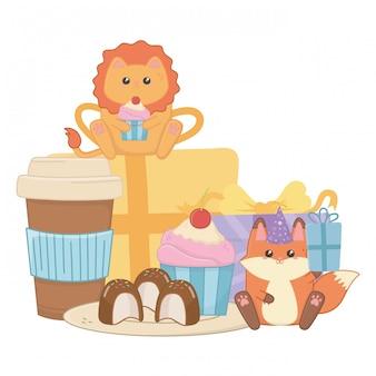 Lion and fox in happy birthday celebration