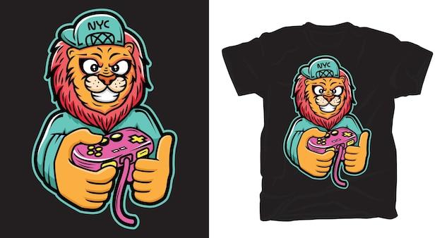 Лев геймер иллюстрация дизайн футболки
