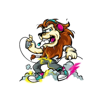 Lion gamer illustration