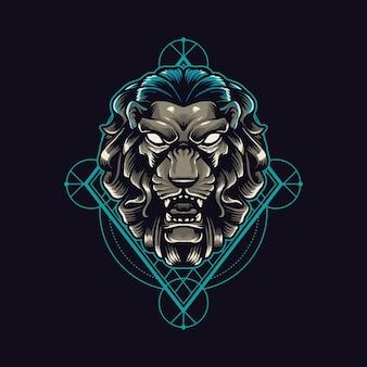 黒に分離されたライオンの幾何学
