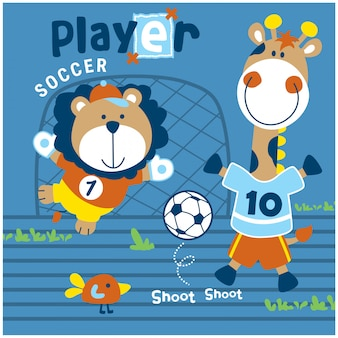 Lion and giraffe playing soccer funny animal cartoon,vector illustration