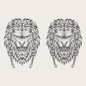 Lion hand draw vector illustration