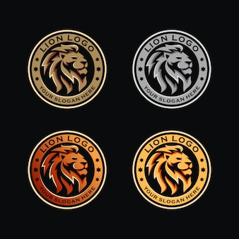 Lion head badge template