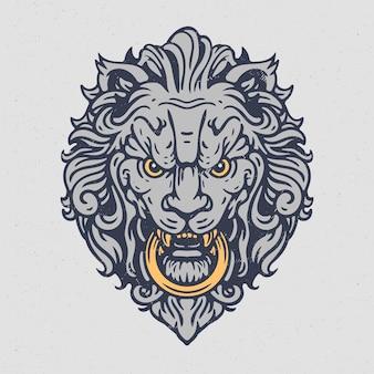 ライオンの頭が指輪のイラストをかむ