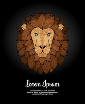 Lion head card poster template