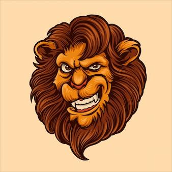 Lion head cartoon character illustration