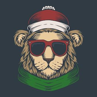 Lion head christmas illustration
