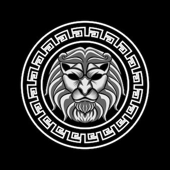 Lion head in circle vector illustration art