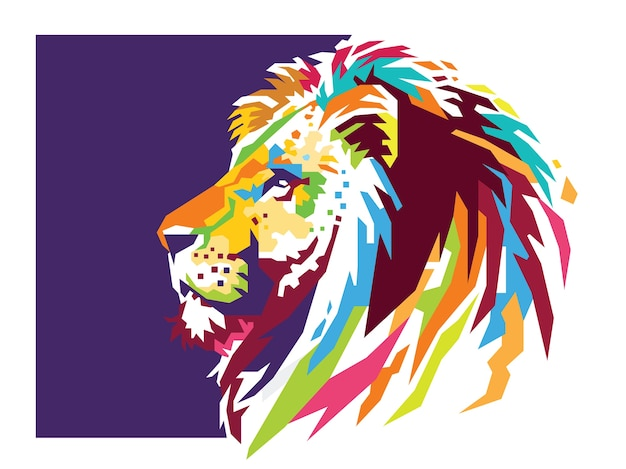 Lion head colour vector