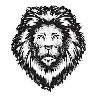 白い背景の上のライオンの頭のデザイン。ライオンヘッドラインアートのロゴ。ベクトルイラスト。