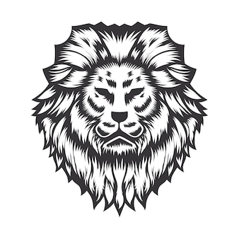 Дизайн головы льва на белом фоне. lion head line art логотипы. векторные иллюстрации.