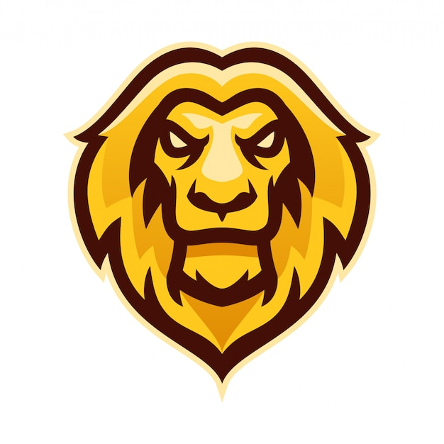 Lion head e sport logo mascot template vector illustration
