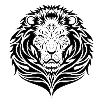 Lion head emblem tribal tattoo