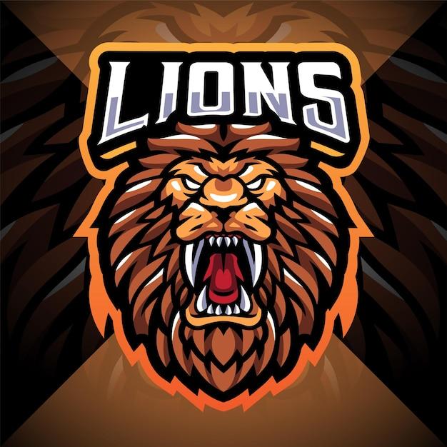 Lion head esport mascot logo design