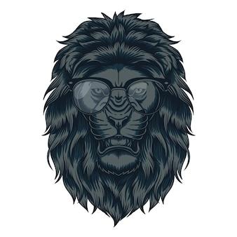 Иллюстрация головы льва очки