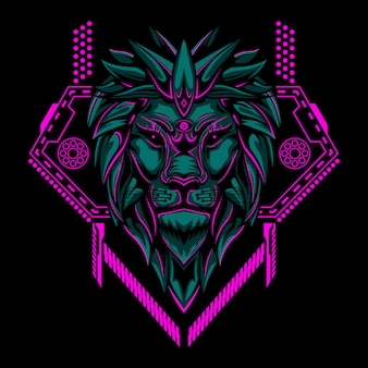 Lion head geometry vector illustration
