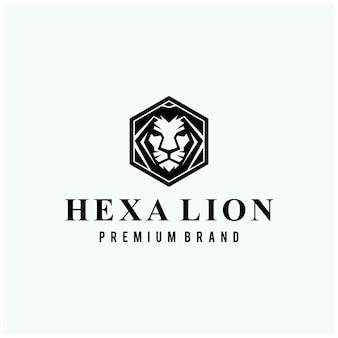 Lion head on hexagon sign logo design