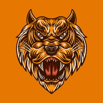 Lion head  illustration isolated color  high detail mascot artwork
