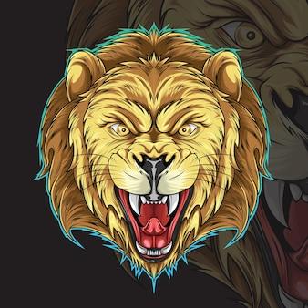 Lion head illustration for tattoo