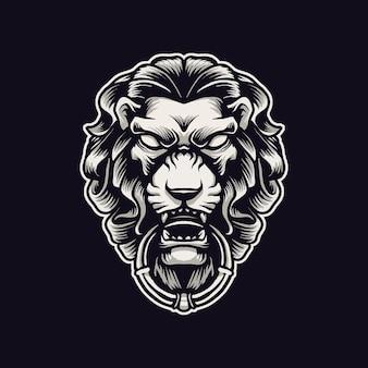 黒で隔離のライオンの頭