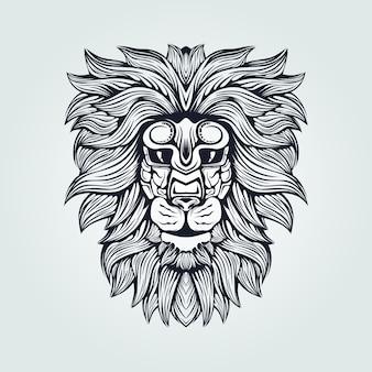 Lion head line art in dark blue color