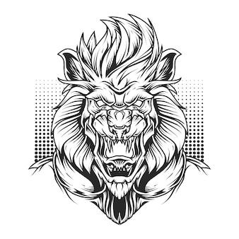 Иллюстрация искусства линии головы льва