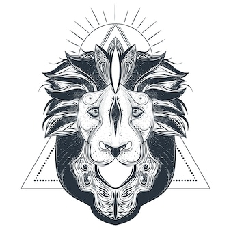 Lion head line art vector illustration
