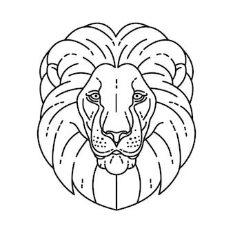 Lion head line vector